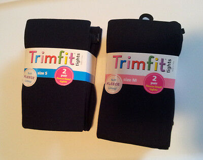 Girls-Size-S(4-6)-or-M(7-10)-Black-Fleece-Lined-Tights-2-Pair-Pack-Solid-Trimfit