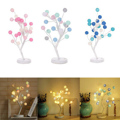Battery-Operated Cotton Ball Bonsai Tree with 24 LED Lights for Holiday Decor