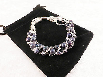 Silver Plated Black Pearl Style Multi Strand Cuff/Bangle/Bracelet Free Gift Bag