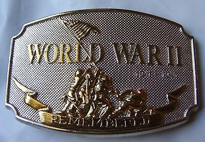 World War II Remembered Belt Buckle Numbered Limited run Belt Buckle 1990 Issue