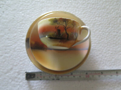 NORITAKE CHINA MINI CUP SAUCER PLATE WINDMILL SUNSET SCENE 1920s ORANGE COLOURS