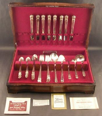 54pc International 1847 Rogers Bros Eternally Yours Silverplate Silver Plate Fla