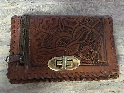 Vintage tooled tan thonged leather purse/wallet