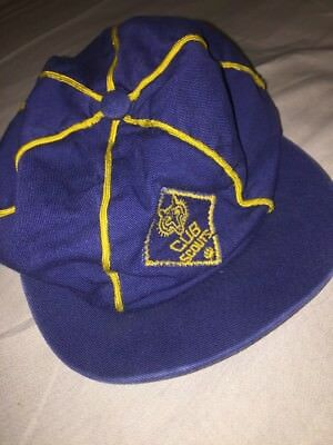 Vintage Cub Scout Hat Cap-Blue w gold striping Genuine SIZE Unknown