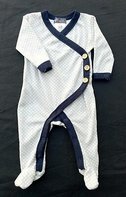 Love Henry Boys One Piece Size 00 White Grey Blue Buttons Footed Handmade Soft
