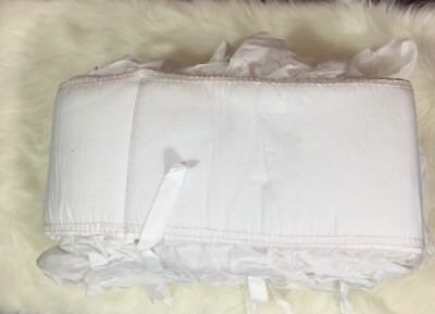 Restoration Hardware Baby and Child Ruffle Voile Bumper White Pink Stitched Bump
