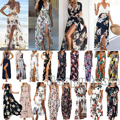 Womens Boho Floral Long Maxi Dress Evening Party Beach Summer Split Sundress AU