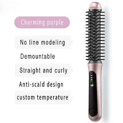 Hair Curler Wireless Electric Roller Iron Curling Straight Comb Rechargeable USB