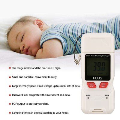 FLUS ET-176 Mini Digital LCD Temperature Humidity Recorder Support PDF Output(5