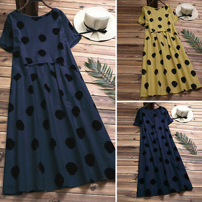 006e3ff13ba8e WOMEN CASUAL PLUS Size Short Sleeve Sundress Retro Vintage Polka Dot Midi  Dress