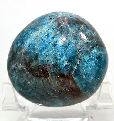 49mm 135g Sparkling Blue Apatite Pebble Polished Gemstone Crystal - Madagascar