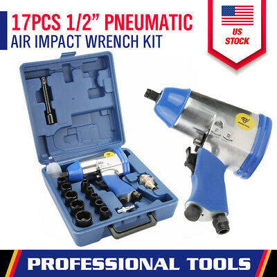 """17 Pc 1/2"""" Drive Air Impact Wrench With 10 1/2 Dr Sockets 1 Extension Bar Oiler"""