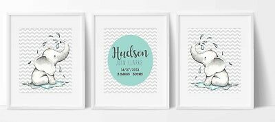 Set of 3 Nursery/home wall prints elephant chevron birth announcement