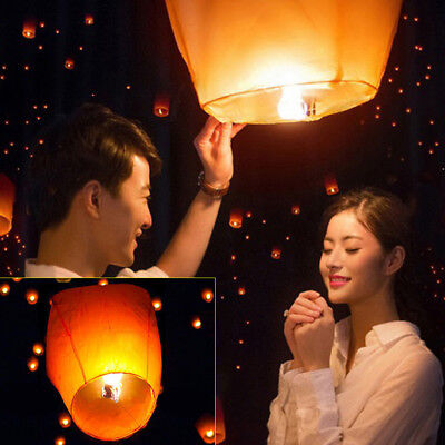 50Pcs Orange Color Paper Chinese Lanterns Sky Fly Candle Lamp for Wish Wedding