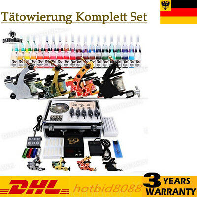Tätowierung Komplett Tattoo Kit Tattoomaschine Set Rotary 40 ink+ Koffer Needeln