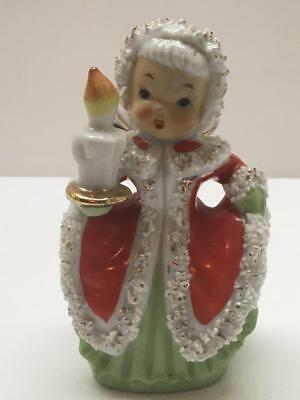 VTG CHRISTMAS GIRL ANGEL 1950'S Napco Ceramics Spaghetti Trimmed Candle NICE!