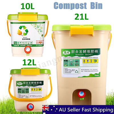10-21L Recycle Composter Aerated Compost Bin Bokashi Bucket Kitchen Food Waste