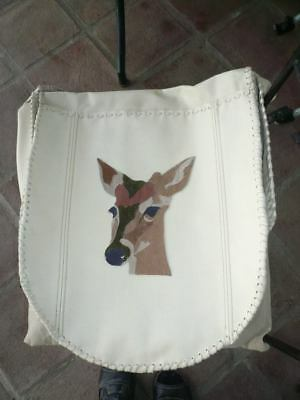 Shamanic Drum Bag with beater pocket. Deer Motif. Cream re-cycled leather. 14""