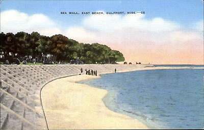 Sea Wall East Beach Gulfport Mississippi MS ~ 1940s
