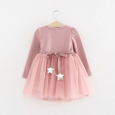 UK Stock Toddler Kids Baby Girls Long Sleeve Party Dress Tutu Lace Cotton Outfit