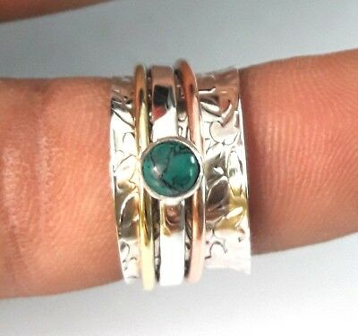 Turquoise Solid 925 Sterling Silver Spinner Ring Meditation Ring Size SR6666