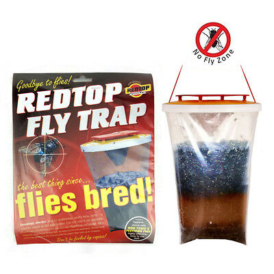 Fly Bag Trap RED TOP CATCHER Kills 20,000 Flies Insects Pest Control Killer JV*&