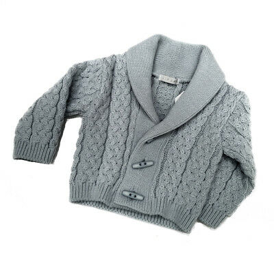 Baby Boys Traditional Spanish Style Grey Shawl Collar Knitted Cable Cardigan