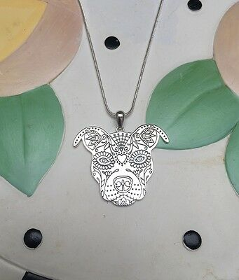 Sugar Skull Pit Bull Sterling Silver Necklace and Charm - New - FREE SHIPPING