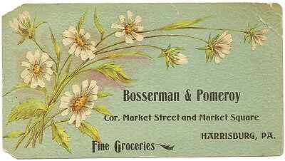 Vintage Antique Advertising Card- Bosserman & Pomeroy Groceries- Harrisburg, PA