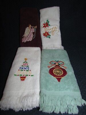 Set of 4 CHRISTMAS HAND TOWELS ~ Angel, Ornament, Tree, Poinsettia