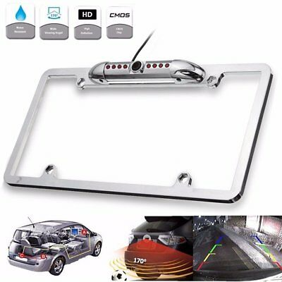 Car Rear View Backup Camera 8 IR Night Vision License Plate Frame Mount CMFE