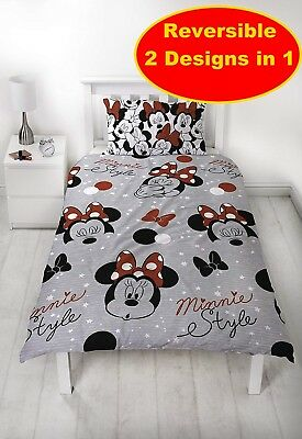 Disney Minnie Mouse Single Duvet Quilt Cover Set Girls Kids Grey Bedroom Gift