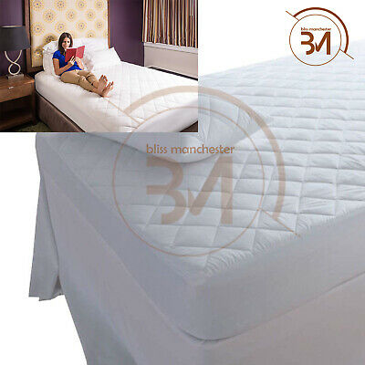 New Deep Quilted Mattress Protector Luxury Fitted Sheet Bed Cover MICROFIBER