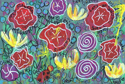Original Outsider Art Painting - Art Brut - NEO EXPRESSIONISM - The Garden