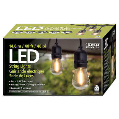 Feit Outdoor Weatherproof String Light Set 48ft 24 White LED Sockets Bulbs Patio