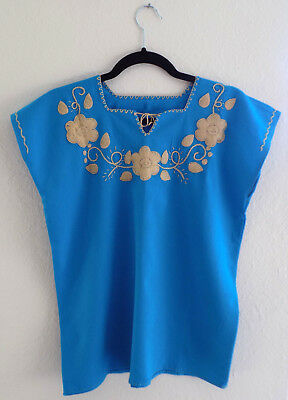 Mexican Blouse Handmade Embroidered Floral Women Blue Peasant Top Small Medium