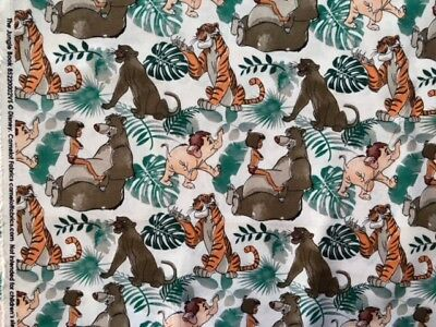 Jungle Book Cotton Fabric Craft Quilting FQ & REMNANTs Disney Licensed