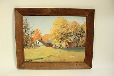 Vtg Original Oil On Board Painting Stanley Jerome Hoxie Landscape Listed Signed