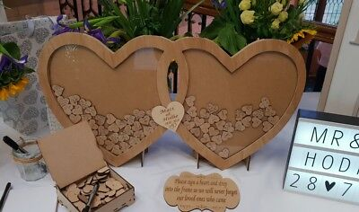 Personalised Wooden Mr&Mrs Drop Double Hearts Wedding Guest Book set Engraved