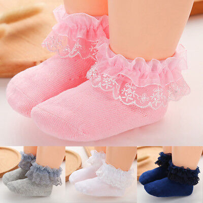 Hot Kids Girl Lace Ruffle Frilly Ankle Short Socks Baby Princess Girls Stockings
