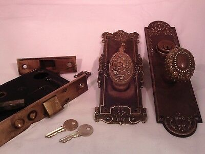 Antique Brass Y&T Rampart Lion Door Knob Set Cylinder Thumb Turn with key #760