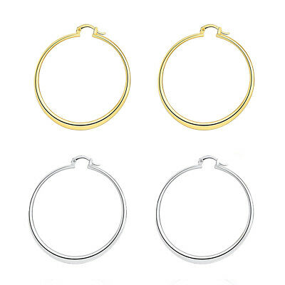 925 Sterling Silver Tarnish-Free Light Weight Tube Hoop Earrings Many Sizes H578