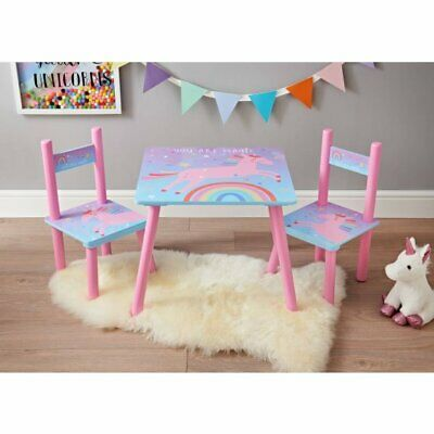 Vintage Unicorn Wooden Table & 2 Chairs Kids home Bedroom Wooden Furniture New.