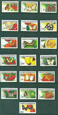 Antigua 1988 -1990 Caribbean Butterflies complete set of 19 MNH SG 1227-1244a