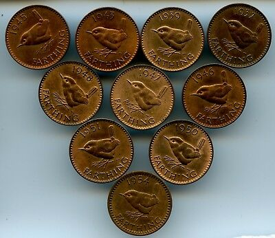 10 Different Great Britain Wren Farthings 1937-1954! All Lustreous!