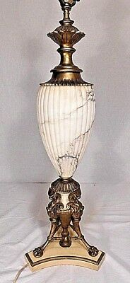 TALL Antique Neoclassical Fluted White Marble & Gold Brass Griffon Table Lamp