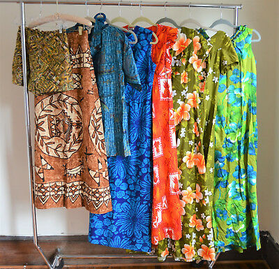 Lot of 8 Vintage Hawaiian Dresses & Separates 1960s Barkcloth Luau Tiki Oasis