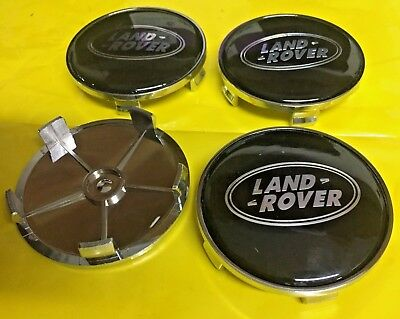 4x Land Rover Black/Silver 68mm Wheel Center Cap Decal Emblem Badge UK Stock