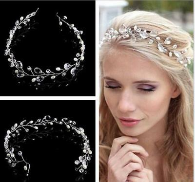 Wedding Hair Vine Bridal Crystl Pearl Headbands Vintage Hair Accessories 45CM