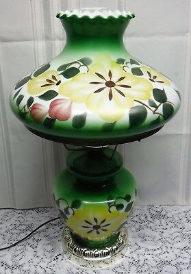 Vintage Green & Yellow Ceramic Porcelain Floral GWTW Table Lamp Top Bottom Light